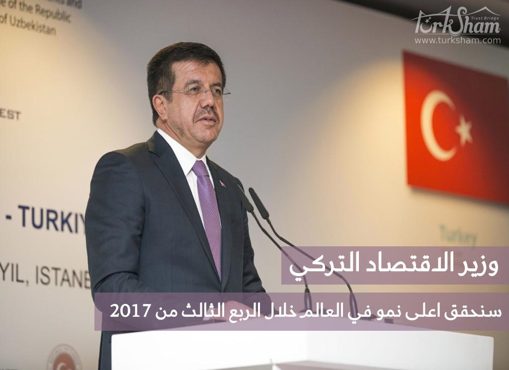 وزير الاقتصاد التركي: سنحقق أعلى نمو في العالم خلال الربع الثالث من 2017