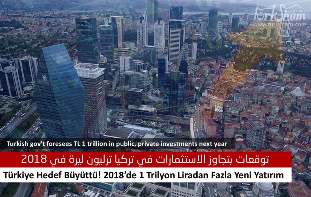 توقعات بتجاوز الاستثمارات في تركيا ترليون ليرة في 2018
