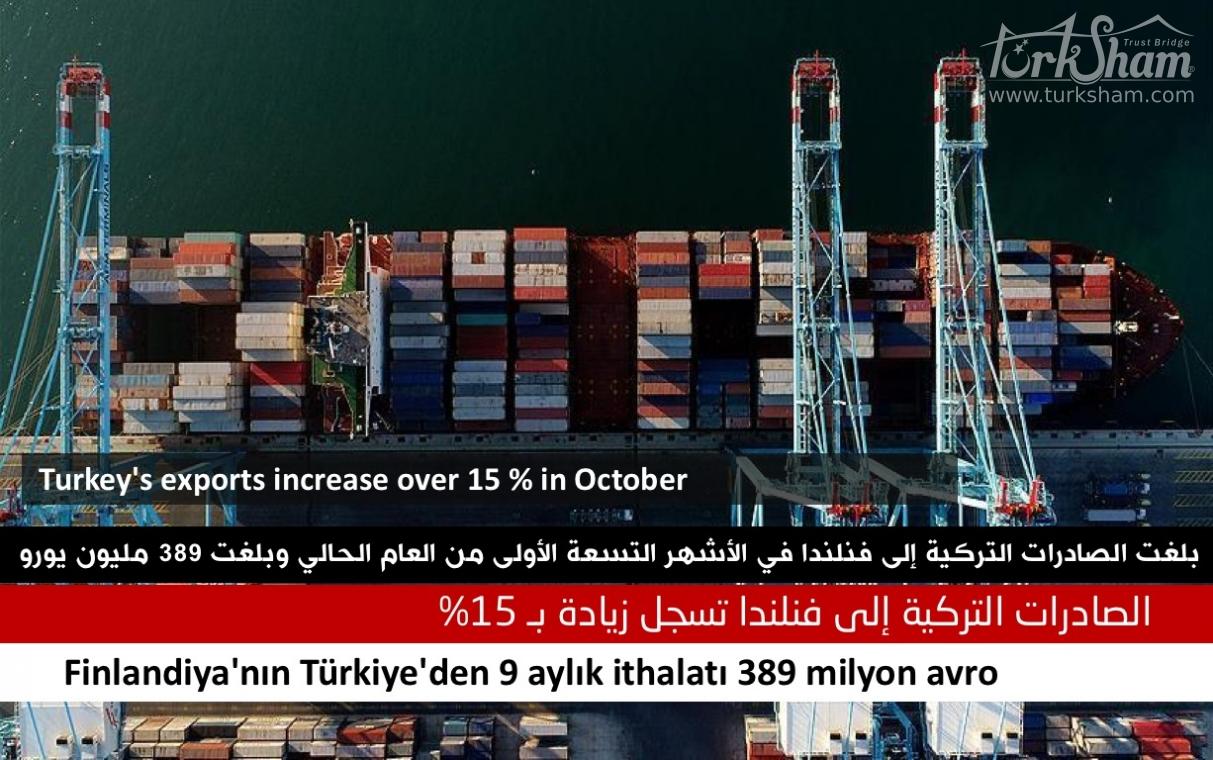 الصادرات التركية إلى فنلندا تسجل زيادة بـ 15%