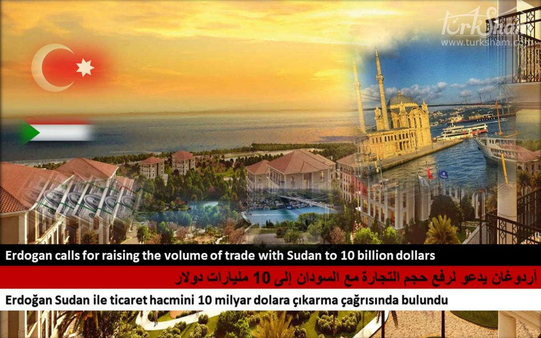 أردوغان يدعو لرفع حجم التجارة مع السودان إلى 10 مليارات دولار