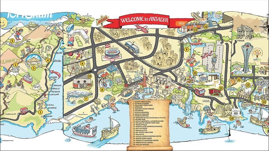 أصبح بالامكان معرفة الأماكن السياحية في انطاليا من خلال خريطة كاريكاتورية