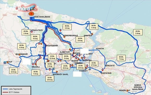 نقاط الانطلاق لخطوط المواصلات المتعلقة بمطار اسطنبول الجديد